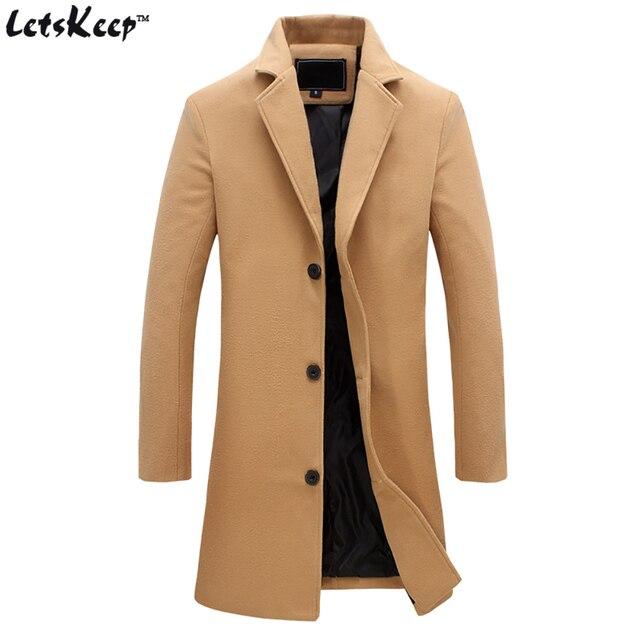 LetsKeep Nowa jesień zima wełna długi płaszcz mężczyźni