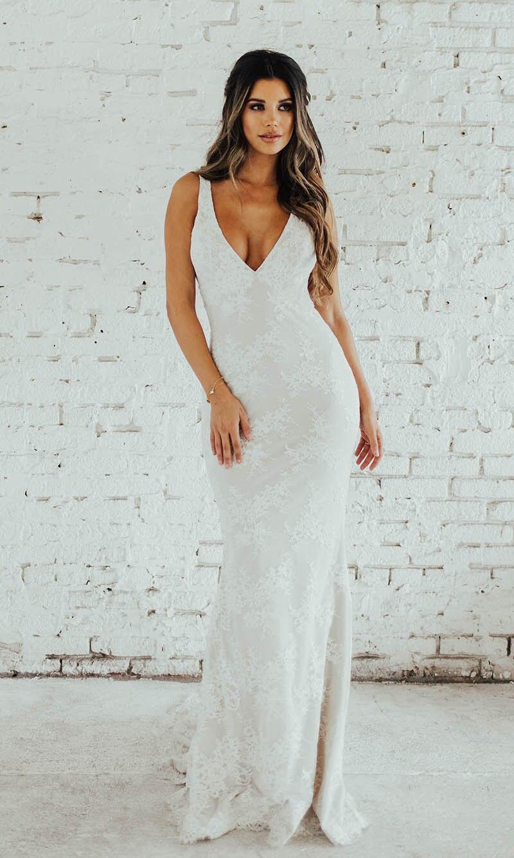 Image 3 - LORIE Lace Mermaid Wedding Dress Sexy V Neck Bride Dress Open Back Robe de soiree Elegant Boho Wedding Gowns 2019-in Wedding Dresses from Weddings & Events