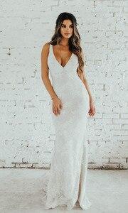 Image 3 - LORIE Lace Mermaid Wedding Dress Sexy V Neck Bride Dress Open Back Robe de soiree Elegant Boho Wedding Gowns 2019