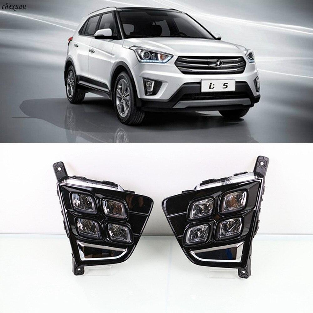CSCSNL 1 set For Hyundai Creta IX25 2014 2015 2016 LED DRL Daytime Running Lights 12V