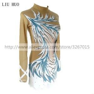 Image 4 - Women rhythmic gymnastics leotards for girls performance suit Artistic gymnastics dress Long sleeve Blue white stripes Kids