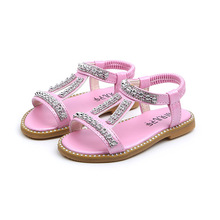 Купить с кэшбэком Pink Gold Silver Baby Girl Shoes Kids Sandals Children soft bottom Rhinestone Princess Shoes Beach shoes fille chaussure 12M-6T