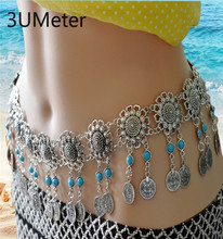 3UMeter 2019 New Boby Chains For Women Fashion Tassel Coin Belly Metal Dance Beach Flower Waist Chain Gift 4747