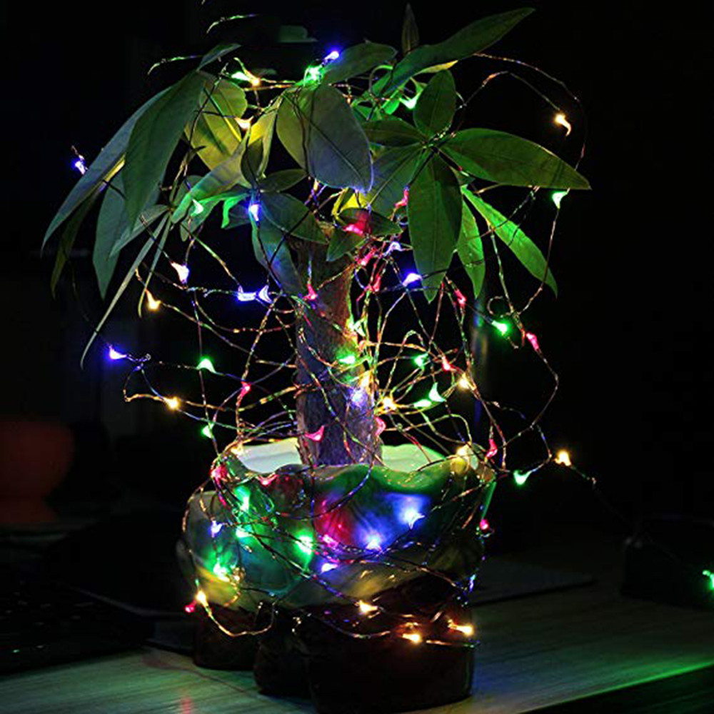 Outdoor 10M 100 LED Solar Copper Wire String Fairy Xmas Garden Light Color Lamp Guirlande Lumineuse Exterieur String Lights
