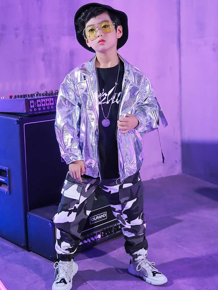 Высокое качество 2019 мальчики Хип-хоп стиль шоу одежда джаз танец кожаная куртка корейский из искусственной кожи Куртка уличные танцевальные костюмы