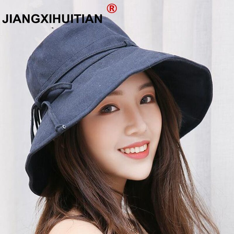 2019 New Cotton Beach Bow Hats For Women Hat Female Lady Bucket Hat Hat Summer Woman Anti-UV Panama Summer Sun Cap Viseira