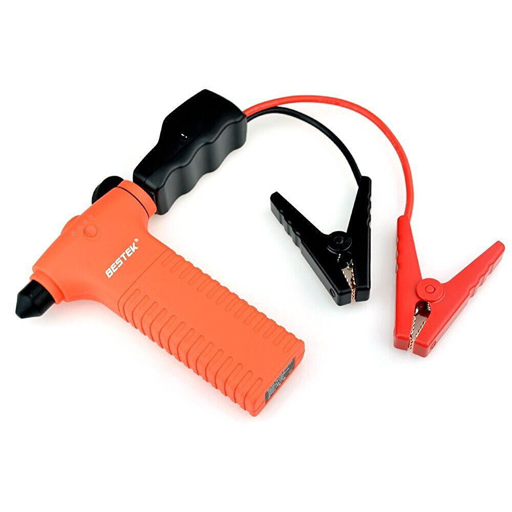 ФОТО BESTEK 400A Peak 14000mAh Car Jump Starter Power Source With Built-In Escape Hammer Black Auto Battery Jump Starter Inverter