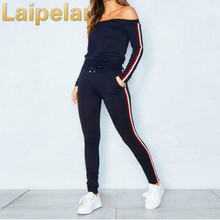 Laipelar Sexy Off Shoulder Two Piece Set Sportswear Tracksuits Casual Women Sweatshirt Pants Suit 2018 Autumn Womens Tracksuit