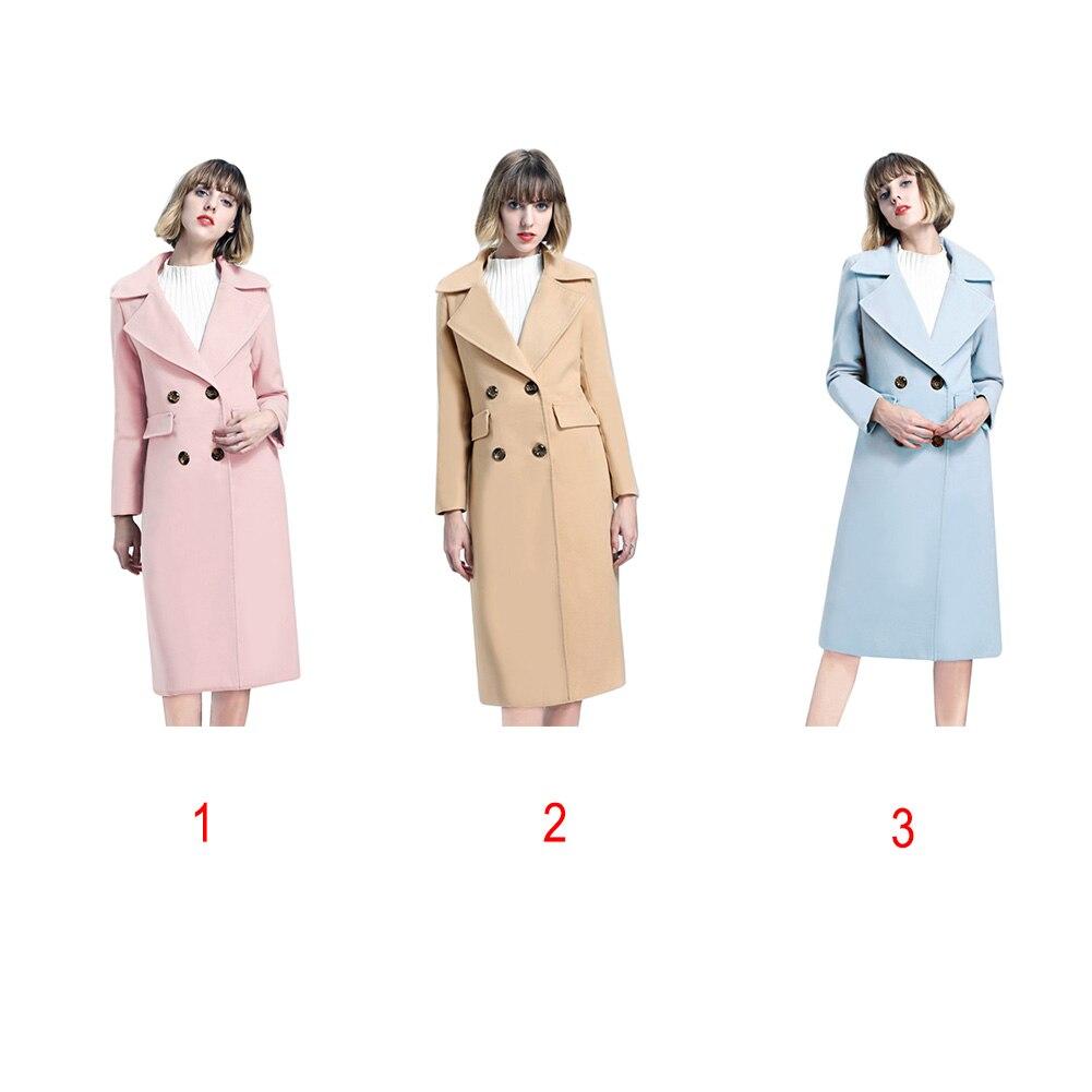 Laine blue Veste light Col Breasted Longue down Manteau Turn Double Pink En Tan Femmes tzqR6OW