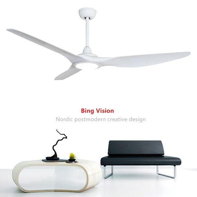62 Inch luxury Nordic creative  Ceiling Fans  110V/220V American retro remote ceiling fan Ventilador De Techo White fan light