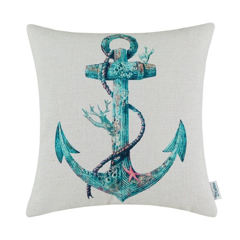 CaliTime Cushion Cover Pillows Shell Home Sofa Car Decor 18 X 18(45cm X 45cm) Boat Anchor