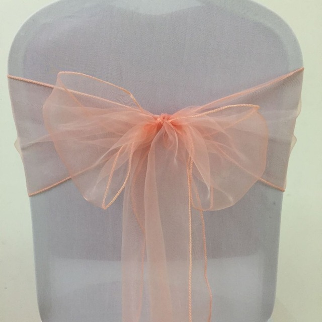 free shipping 100pcs peach organza chair sash wedding chair bow sash