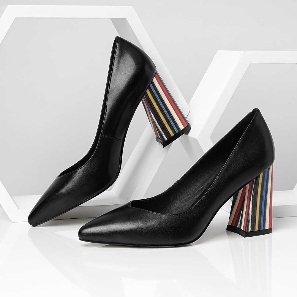ANNYMOLI Vrouwen Handschoen Schoenen Hoge Hakken Natuurlijke Lederen Dikke Hakken Office Lady Schoenen Koe Lederen Extreme Hoge Hak Pompen