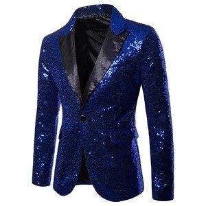 Image 5 - Mężczyzna jeden przycisk czarny cekin sukienka Blazers 2018 Brand New klub nocny Prom mężczyźni marynarkę wesele etap Blazer Masculino