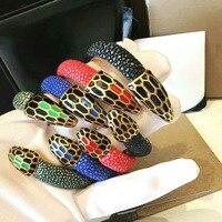 Snake Stainless Steel Twin Snake Bracelets Genuine Leather Stingray Bracelet Fit For Man Women Luxury Watch AccessoriesBr 43