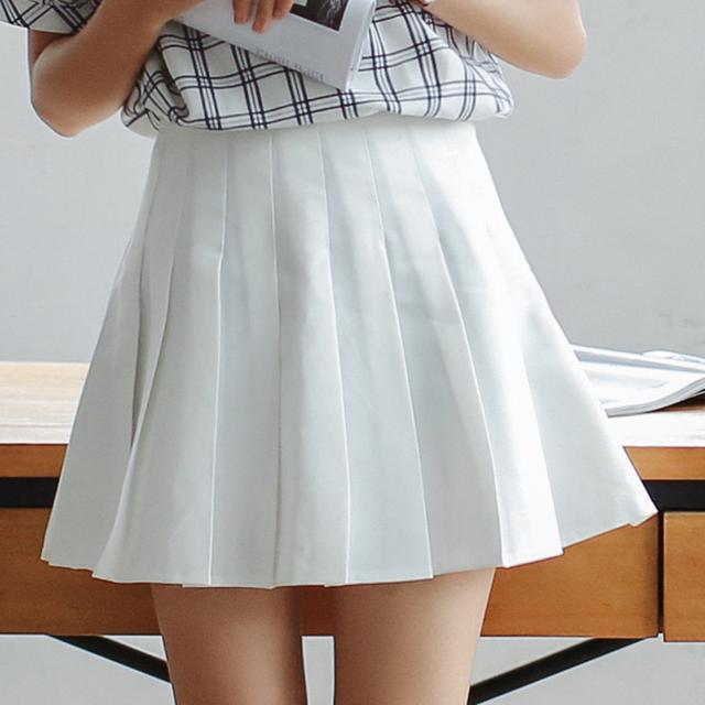 Faldas Mujer 2017 Nova Verão As Mulheres Saia de Cintura Alta Plissada saias femininas preto branco saia no verão mini saia sweet menina