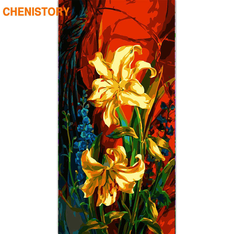 CHENISTORY Frame Abstract Flowers DIY Painting By Numbers Large Size Acrylic Paint By Numbers Wall Art Canvas Painting For Arts