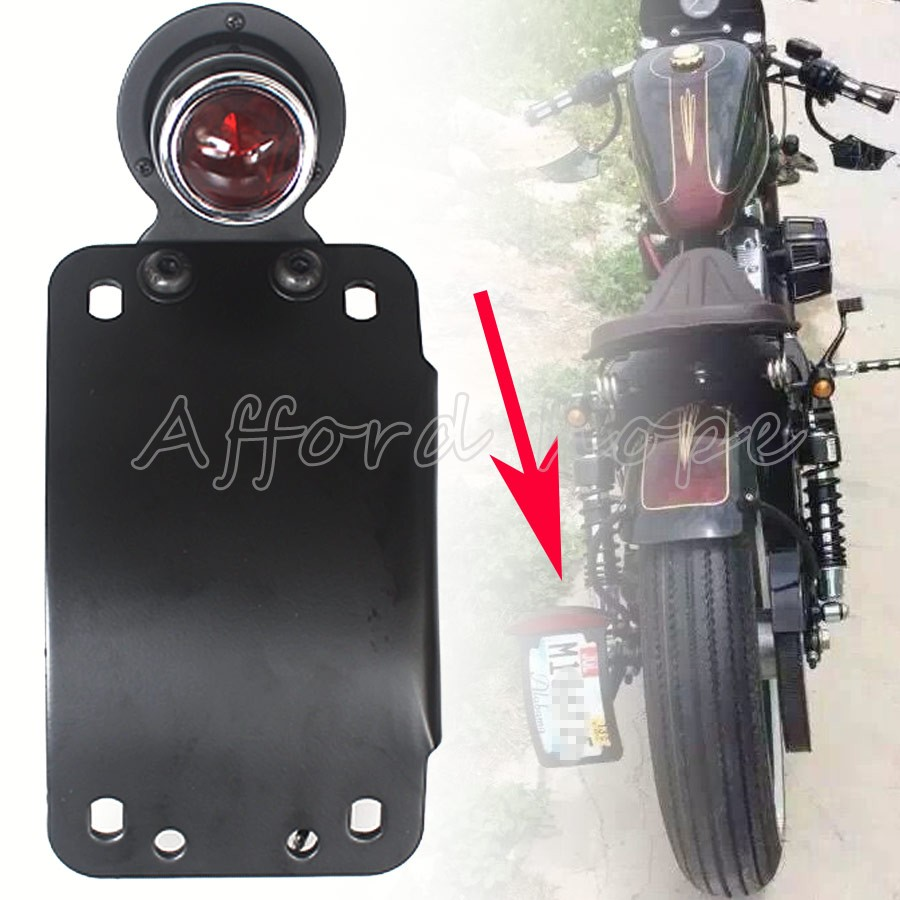 Delightful Colors And Exquisite Workmanship Black Round Side Mount Curved Vertical Model License Plate 3/4 Hole Bracket Housing Brake Tail Light For Harley Chopper Bobber Famous For Selected Materials Novel Designs
