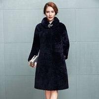 Merino wool fur coats long cashmere wool lamb slim season Mouton Coat female jacket women's jacket wool