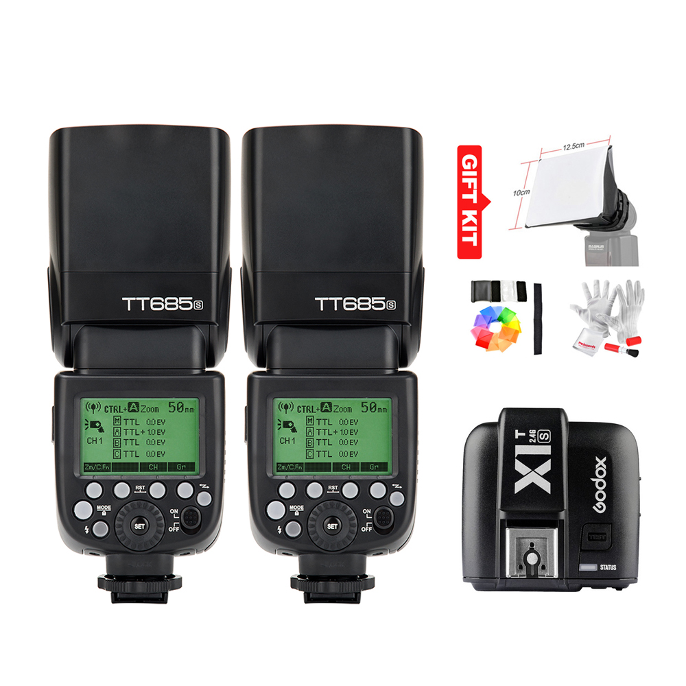 Godox TT685S GN60 TTL HSS 1/8000s Flash Light Speedlite + X1T-S Trigger Transmitter for Sony A77II A7RII A7R A58 A99 + Gift Kit
