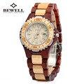 Bewell relojes de madera mujeres de la marca de lujo automático fecha reloj reloj de cuarzo resistente al agua respetuoso del medio ambiente del reloj de relogio feminino