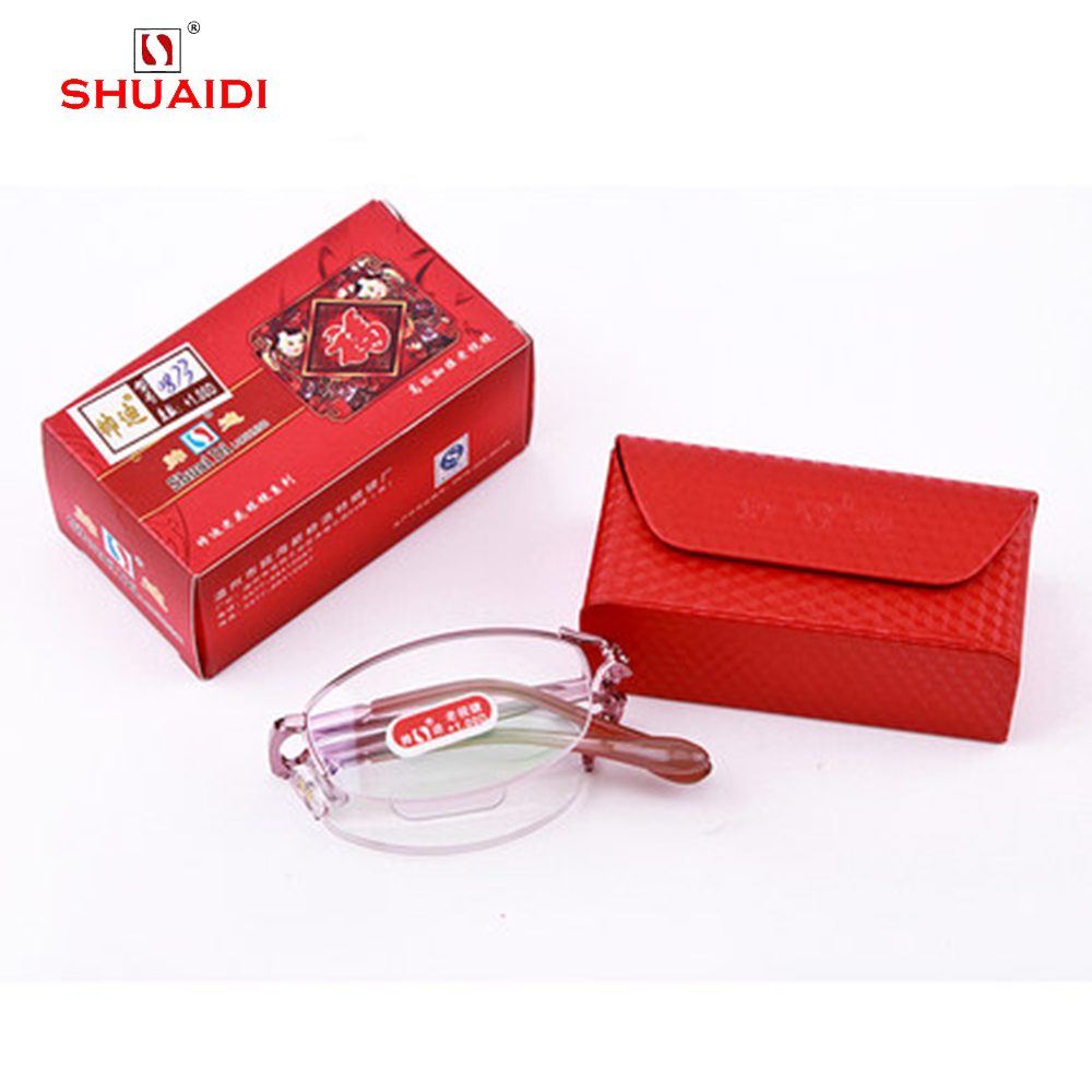 = SHUAI DI = Fashion Portable Folding Women Reading Glasses Pink High Quality Alloy Eyeglasses With Case +0.5 +0.75 +1 to +6 ...