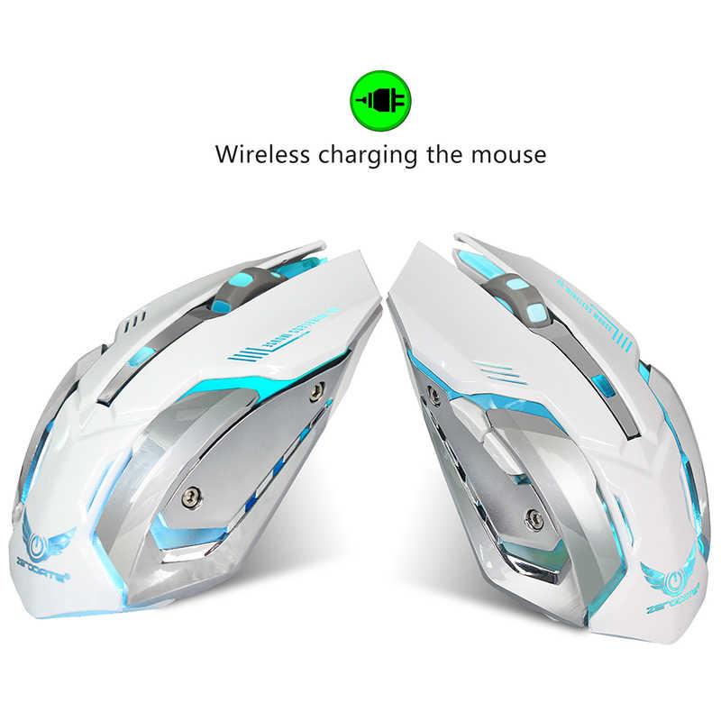 ワイヤレス人間工学 2.4 2.4ghz の充電式サイレント光学式マウス 7 Led バックライト Pc ゲーム用 UY8