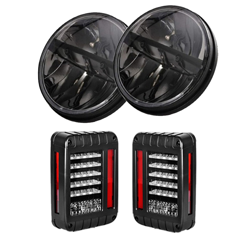 7inch 36W Round H4 Hi/Low Beam Headlight For Jeep Wrangler Led TailLight LED Reverse Brake Tail Light For Jeep Wrangler 1pair 30w 7inch headlamp car headlight 7 high low beam led head light for jeep wrangler