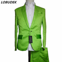 Fluorescent green Red Blue Men's Suits solid color Fashion Blazers Bar Stage Costume Male Singer Nightclub Host Show Slim Suit