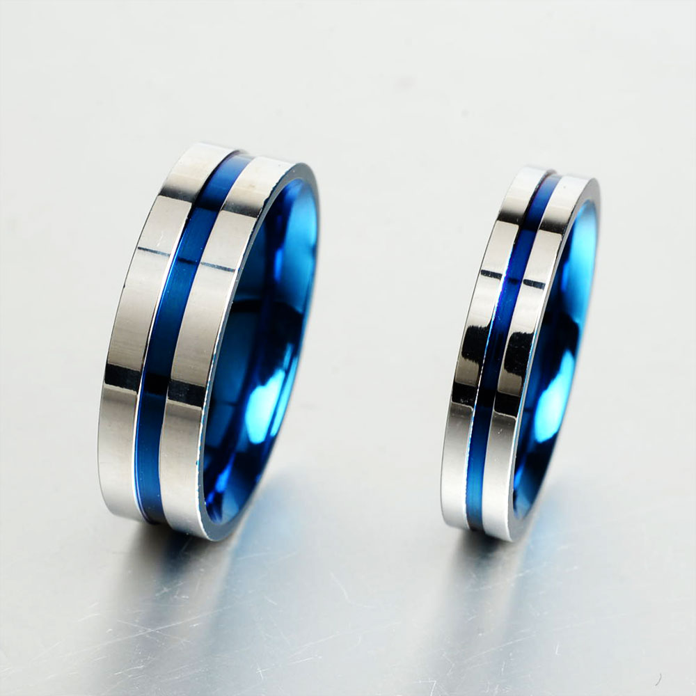 gold steel for finger stainless brushed men classic blue product simple ring jewelry trendy rose rings