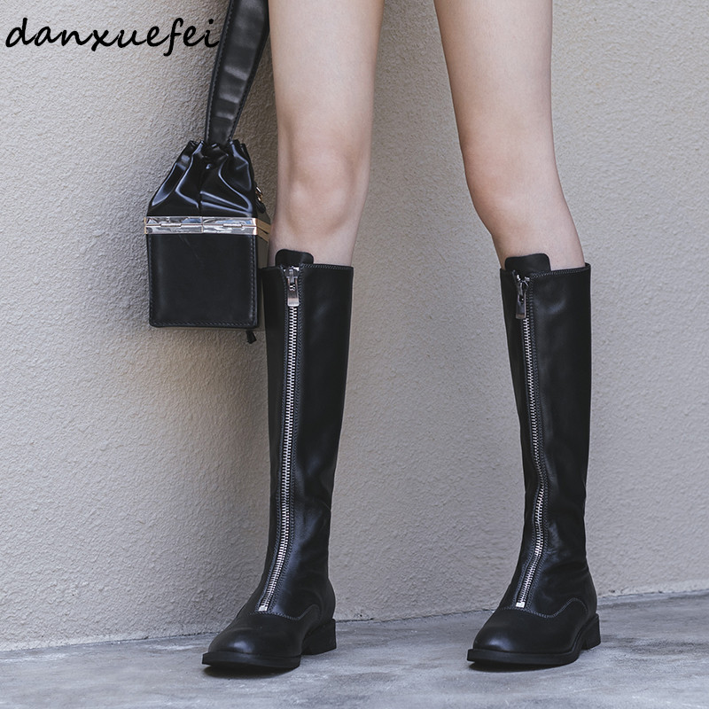 Plus Size 33-43 Womens Genuine Leather Gradient Color Front Zip Knee High Boots Punk Flats Winter Long Boots Autumn Winter ShoePlus Size 33-43 Womens Genuine Leather Gradient Color Front Zip Knee High Boots Punk Flats Winter Long Boots Autumn Winter Shoe