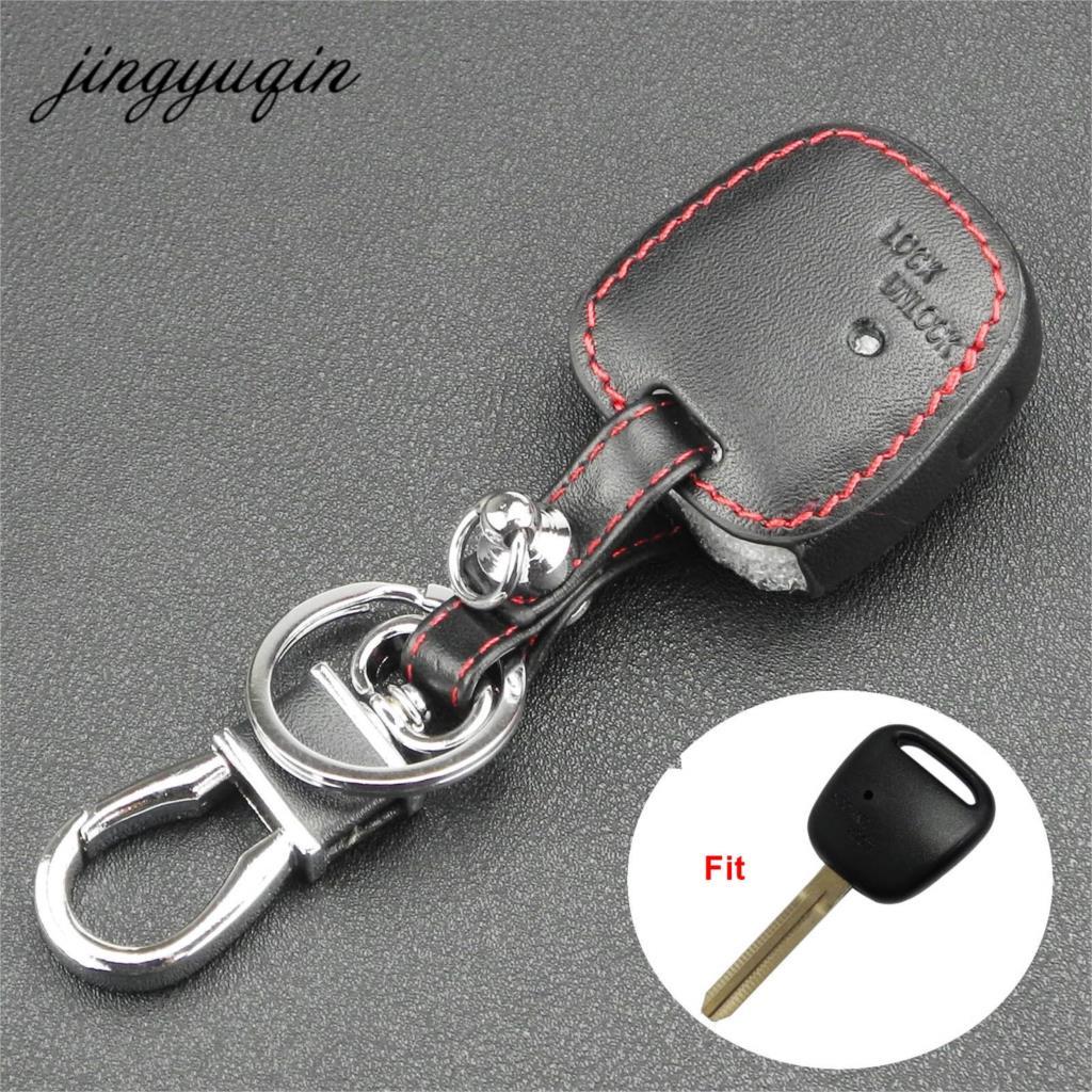 Jingyuqin 1 Side Button Fob Leather Cover For TOYOTA Carina Estima Harrier Previa Corolla Celica Car Remote Key Shell Case