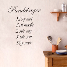 Creative quote How to cook Pandekager kitchen wall stickers DIY decals home decor vinyl wallpaper