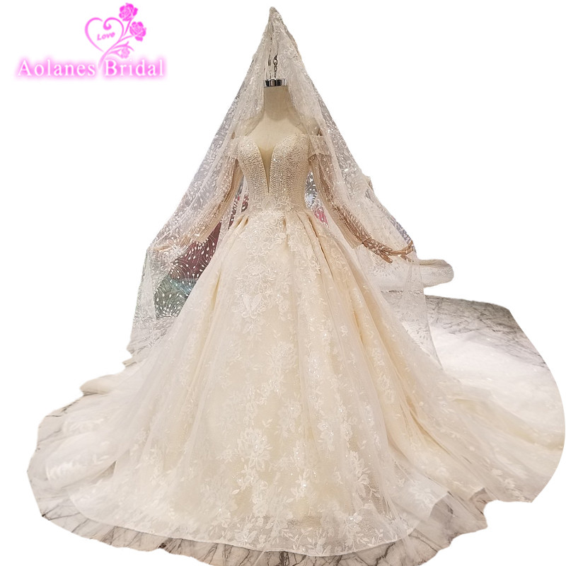2019 Champagne Lace Pearl Bead V-neck Cathedral Train Long Sleeves Bridal Gowns Lace Up Vintage Wedding Dresses With Long Veil