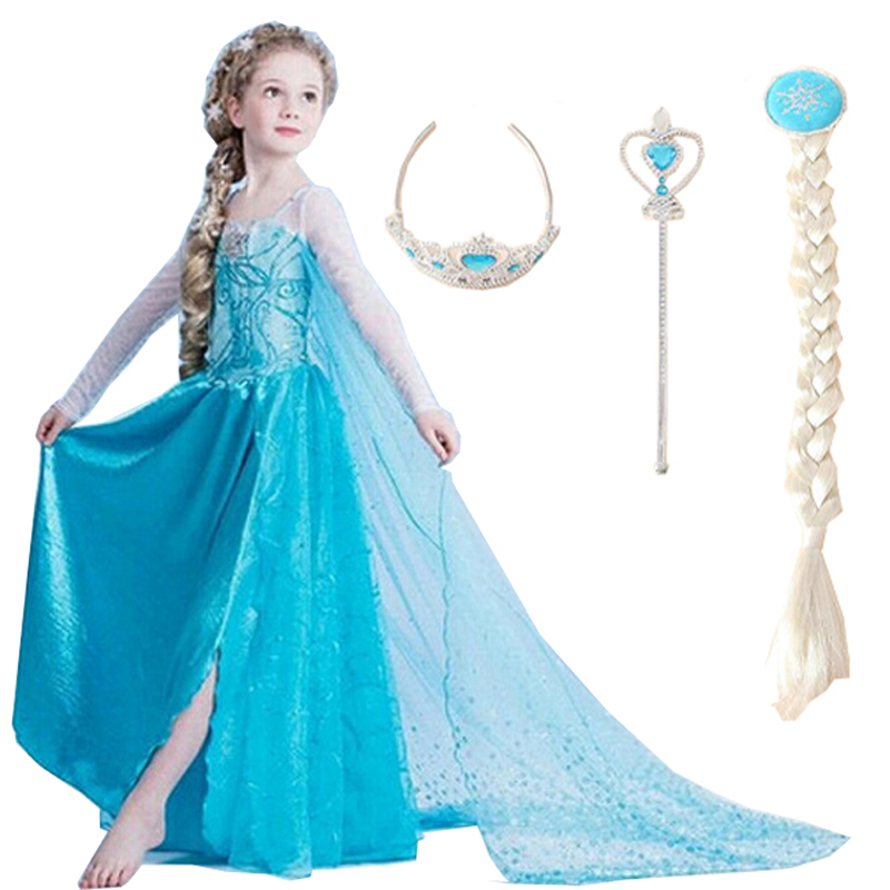 цена на Cosplay dresses for girls Elsa Dress Princess dress Snow Queen Party Dress Anna Vestidos Elsa Costumes For Children Clothes