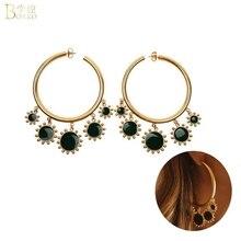 BOAKO Big Hoop Earrings For Women Korea Red Crystal Trendy Gold Girl Party Jewelry pendientes Z5