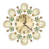 Vintage Metal Quartz Needle Clocks Crystal Sunburst Flower Wall Clock Watch Still Life Clocks Home Decor Living Room Stickers