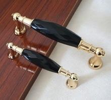 Modern Glass Dresser Drawer Handles Gold / Black Pulls Chrome Metal Knobs / Crystal Kitchen Cabinet Handles Furniture Hardware