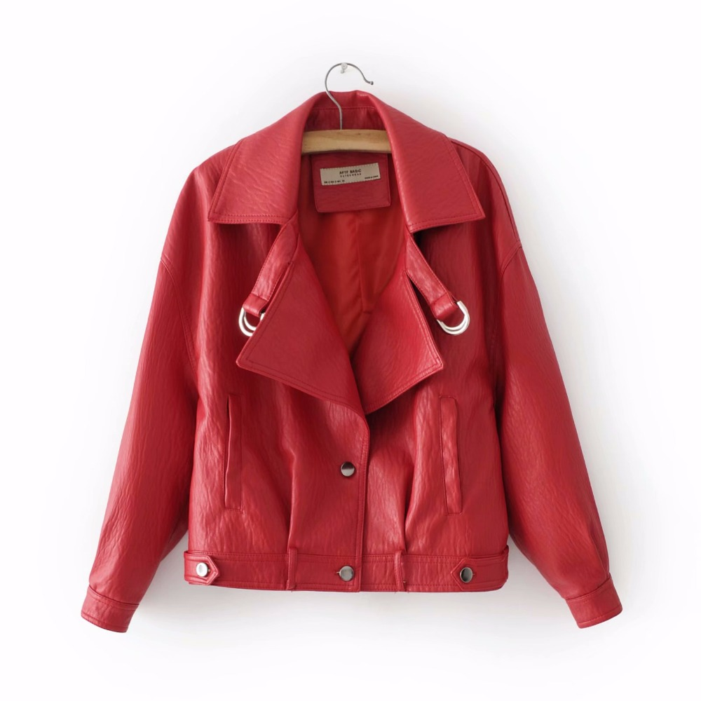 Fashion red PU leather jacket coat female Belt zipper Spring Autumn patchwork basic jacket Casual outerwear faux leather coat