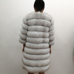 Image 2 - 100% Natural Real Fox Fur Coat Women Winter Genuine Vest Waistcoat Thick Warm Long Jacket With Sleeve Outwear Overcoat plus size