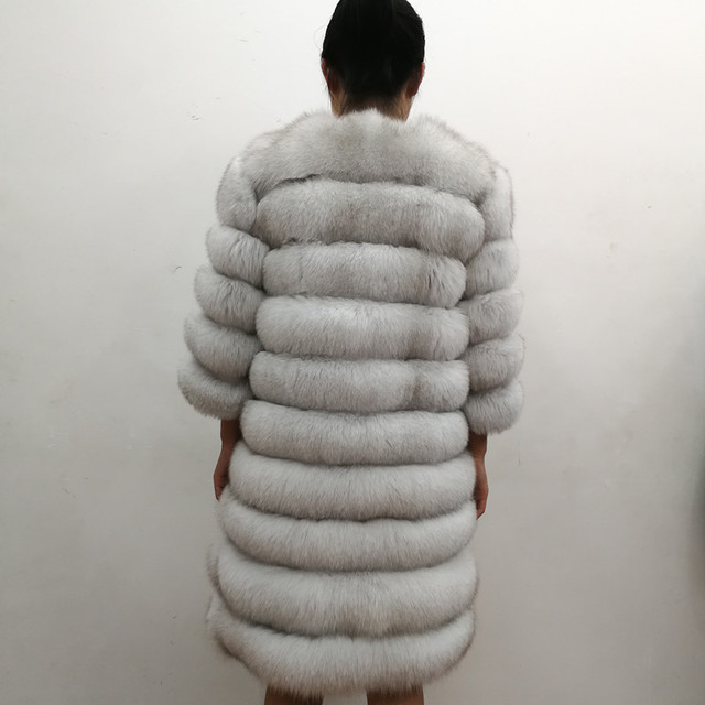 100% Natural Real Fox Fur Coat Women Winter Genuine Vest Waistcoat Thick Warm Long Jacket With Sleeve Outwear Overcoat plus size 2