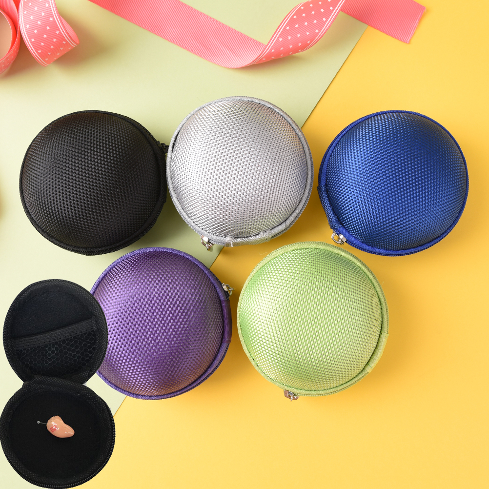 Portable Case for Earphone Case SD TF Cards Earphon Case Mini Zippered Round Storage Hard Bag Headset Box for Headphones