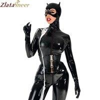 Для женщин Полное покрытие Латекс комбинезон для CAT Для женщин Фетиш Резина передняя молния боди w/o корсет Клубные настроить услуги