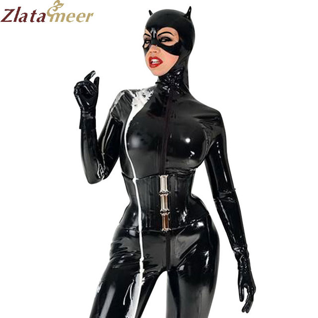 9f10c58a7 Women Full Cover Latex Catsuit for Cat Women Fetish Rubber Front ...