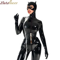 Women Full Cover Latex Catsuit for Cat Women Fetish Rubber Front Zipper Bodysuit w/o Corset Club Wear Customize Service