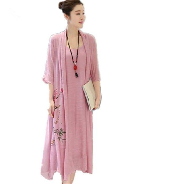 541220d42b placeholder Clobee 2018 cotton linen long women summer dress kimono office  Tunic Robe vintage print floral dress