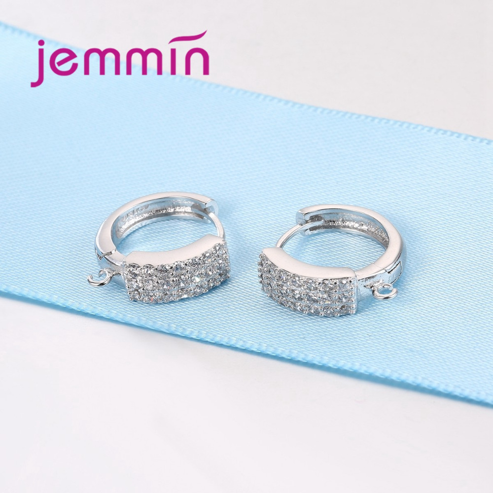 Jemmin Top Quality Full Clear Micro Crystal Earrings Jewelry Accessory 925 Sterling Silver Hook Earring Findings DIY Brincos