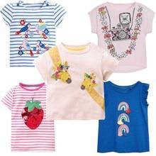 4b368ae3a0 Dziewczyny topy lato 2019 śliczne dzieci Tshirt Baby Girl ubrania koszulki  jednorożec zwierząt drukuj dzieci koszulki