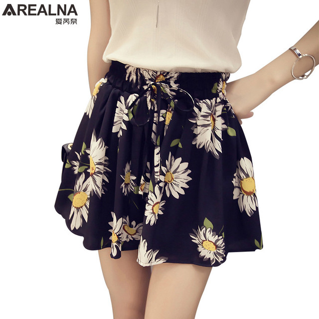 799c3eb20d AREALNA 2019 New Summer High Waist Floral Women s Skirt Shorts Fashion Bow  Chiffon Female Wide Leg Short Hotpants Plus Size 4XL