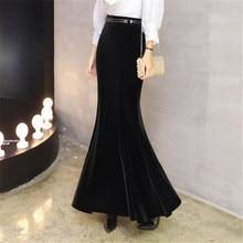 ベルベット女性プラスサイズ 5XL 冬ロングスカートとベルト女性の秋エレガントな黒のベルベットマキシスカート ds50163